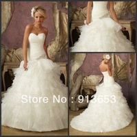 Hot sale Beaded Organza Ruffle Sweetheart  wedding dresses wedding dress wedding gown
