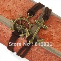 Min Quantity is USD15!Mixd order!Free Ship!B00463! Dark Brown Vintage Anti Gold Arhor Alloy Pendant Fashion Costume Bracelet