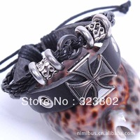 Ancient Rome Cross Style Retro Leather Bracelet or Wristband Style Genuine Cowhide by Handmade