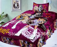 Free Shipping 100% cotton reactive print child 3 pcs bedding set one bedcover+ two pillowslip purple colour home textile carton