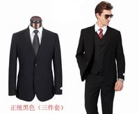 2013 New Fashion Men Black Business Suits Two Button Tuxedo,3 piece Wedding Suits,Black/Dark Blue Suits for Men