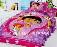 Free Shipping 100% cotton reactive print child 3 pcs bedding set one bedcover+ two pillowslip home textile carton