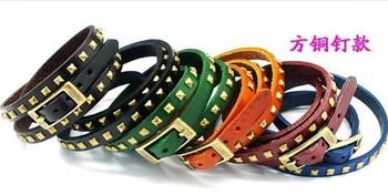 Wholesale fashion Jewelry Genuine leather Square rivets Punk bracelet Wristband.High quality.Free shipping