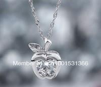 925 sterling silver necklaces bright Apple women encrusted zircon pendant
