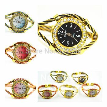 2014 women dress watches luxury brand rhinestone embed art case stainless steel wire bracelet lady quartz relogio feminino