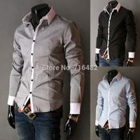 Free Shipping 2014 Autumn Spring New Hot Mens CasualCotton Long Sleeve shirts Men's Slim Fit Stylish Designer Dress Shirts  X-01
