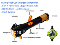 Waterproof Outdoor or Car Emergency Hammer with Power Bank LED Flash Beacon Light Compass Crank dynamo support Listen radio