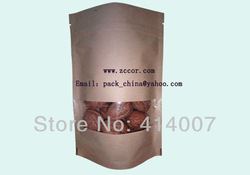 Free shipping delivery brown kraft windows standing up food pouch zipper lock packaging bags(China (Mainland))