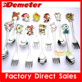 ZK Chinese zodiac pig 3sets/lot tableware lovely baby spoon forks stainless steel dining set kitchenware free shipping