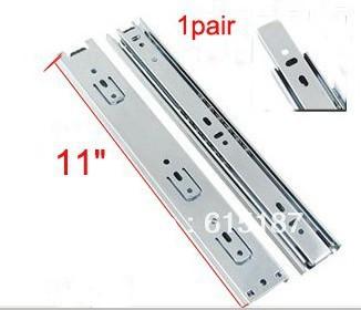 """par 11"""" extensão completa rolamento gaveta telescópica slide trilhos corredores(China (Mainland))"""