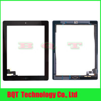 Glass panel For Ipad 2 Touch Screen With Home button Assembly 100% Guarantee Black /white DHL Free shipping