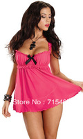Free Shipping Hot Pink Sexy Lingerie Bowknot Babydoll Dress Bedroom Wear Lingerie with G-string