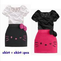 Retail new 2014 children clothing gilrs lace bowknot decor dress sets kids Hello Kitty print t-shirt + skirt suits