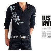 3PCS/lot Free ship 2013 New cotton Slim Casual Shirt man long sleeve Tee shirts for outdoor Black Purple White men clothes