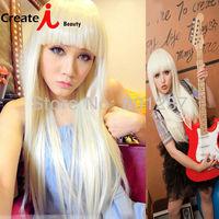 65cm Beige straight hair oblique bangs non-mainstream girls masquerade Anime wigs
