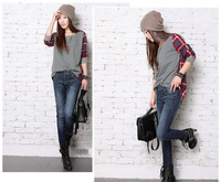 New Fashion Women Loose Cotton Plaid Long Sleeve Blouse Top Shirt
