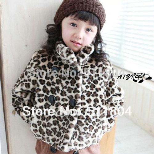 Girls Leopard Printed Short Jacket, Cotton-padded Thick Coat, Kids Stylish Outerwear, 2015 Fashion Autumn Winter Clothing(China (Mainland))