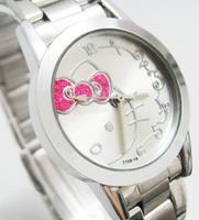Hello Kitty ladies Quartz Men Watch Hello Kitty Lady Girls Fashion Men stainless steel wrist watch gift C134W Free shipping