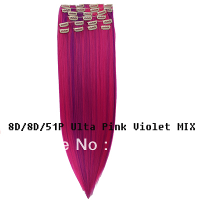 retail Synthetic clip in on hair extension 10pcs 170g 1set 18 20 22 24 inch #8D/8D51P Ulta Pink Uiolet Mix(China (Mainland))