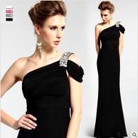 New Arival Long Black Evening Dresses Party Dress Oblique Shoulder Diamond  Clothing Models Stalkshow Free Shipping