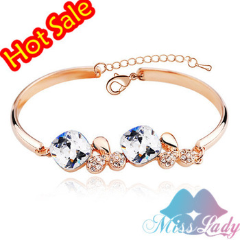 18K Platinum Plated Austrian Crystal Luxury Quartet Bracelets & Bangles Fashion Jewelry for women 4472