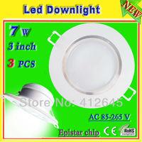 aluminum home led down lamp 7w_free shipping white light led recessed downlight 3 inch_energy saving led lampen ac85-265v