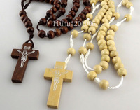 Wholesale 24 pcs Mix Color Wooden Rosary Beads Jesus Cross Pendant Necklaces Wood Religious Cross Jewelry