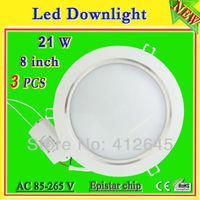 led downlight ceiling recessed light lamp white 8 inch 21 watt  free shipping_wholesale white aluminum shell led lamp ac85-265v