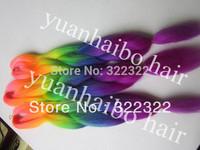 Stock!! Rain Bow Color 100 Kanekalon Stock Synthetic Jumbo Braid, 6pcs/lot