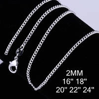 Factory Directly Selling2MM Width All Sideways Chain Necklace,925 Silver Plated Chain For Pendant Jewelry,EMS Free When Order >=