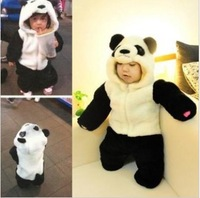 Free shipping 18pcs panda romper baby winter romper Long-sleeve animal