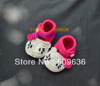Free shipping Wholesale Hand Crochet  Baby animal shoes /baby boot / Kitty Cat Shoes - Pink and Red