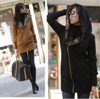 HOT SALE! 2014 Fashion Women's Leopard Fleece Hoodie Coat Sweatshirt Jacket Warm Outerwear  FWO10100