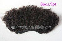 Factory price 6a grade instock Cuticle Mix size 3 pcs 4pcs /lot  boudles funmi mongolian kinky curl hair weft boudle free ship