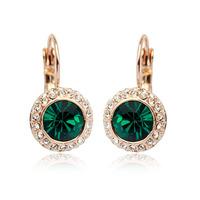 High Quality 18 K Real Gold Plated Austrian Green Crystal Rhinestone Promotion Fashion Design Imitation Diamond Zircon Earrings