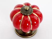 Lot of 20 Colorful Pumpkin Cabinet Knobs Ceramic Kirchen Drawer Pulls Furniture Handle (Diameter:40mm,Color:Red)
