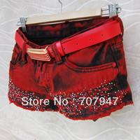 Free shipping 2013 Rhinestones jeans shorts plus size ultra-short jeans all-match hole denim shorts women Wholesale