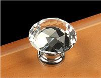 10Pcs Modern Fashion K9 Clear Crystal Glass Chrome Cabinet Drawer Knobs New (Diameter: 30MM)