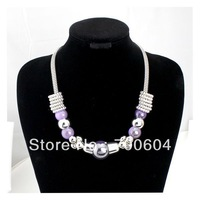 New Arrival! Fashion Purple Big Statement Punk Colorful Chunky Chokers Chain Beaded Snake Necklace for Women, Factory Supply
