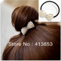 New arrival pearl elegant Korean Rhinestone Sweet little Created Pearl Bowknot Hairband hair chain