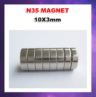 Free shipping  500pcs/lot N35  D10X3mm Columns Ndfeb strong magnetic magnet
