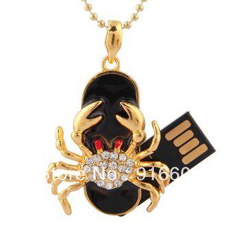 S-70 Jewelry Necklace Crystal Constellation Cancer Scorpio 4GB 8GB 16GB 32GB 64GB USB 2.0 Flash Memory Stick Drive Thumb/Car/Pen