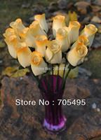 Free Shipping 2.5cm 8pcs/bunch Handmade Wood Rose Bud Home Decoration Flower