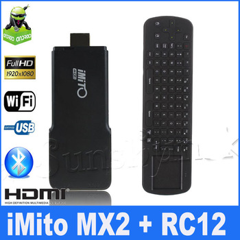 2013 New Arrival iMito MX2 Dual Core Mini PC Android 4.1 TV Box RK3066 Built-in Bluetooth 1GB RAM 8GB ROM and rc12 air mouse