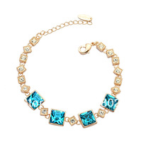Bling 18KPG Bracelet Made with Four PCS Austria Crystal Rhinestone for Women Ladies Party Birthday Wedding Anniversary Gift