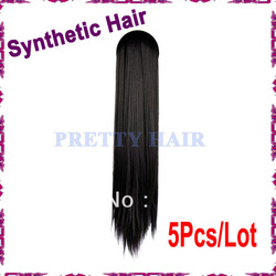 5Pcs/Lot New Fashion Women's Hoop Headband Long Straight Synthetic Hair Extensions Black Free Shipping 8008(China (Mainland))