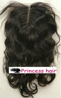 "Loose Curl Middle Part Natural Peruvian virgin hair lace top closure(4""x4"")"