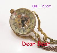 Vintage Steampunk Style Punk Skeleton Glass Ball Mechanical Pocket Watch Necklace , Dia 2.5cm. 6 pcs/lot