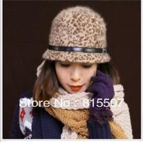 New Rabbit Fur Leopard knight cap hat Korean version of women's autumn and winter days ride equestrian gift hat Free shipping