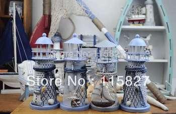 Promotion!Mediterranean style lantern Light House Candle Holder house or shop decoration Metal artcraft